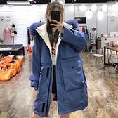 羽絨外套-白鴨絨-連帽狐狸毛領寬鬆大口袋女夾克4色73zb29【時尚巴黎】