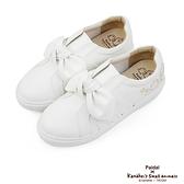 Paidal x 卡娜赫拉的小動物 蝴蝶结隱形內增高厚底休閒鞋-小白鞋