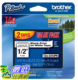 [美國直購] Brother P-touch 1/2-Inch Standard Laminated Tape, Black on White, 26.2-Feet (2 Pack)