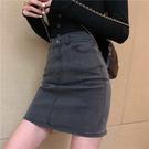 裙子女夏季2021新款港風高腰A字牛仔半身裙ins復古學生包臀裙短裙 果果輕時尚