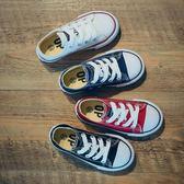 兒童帆布鞋親子鞋母女鞋春款系帶韓版低筒男童女童鞋子 卡米優品