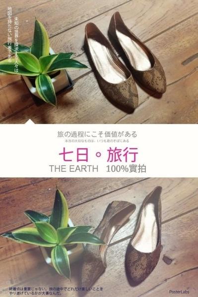 大尺碼女鞋小尺碼女鞋[B0034]獨家熱銷款歐美街頭風蛇皮尖頭舒適娃娃鞋棕色(35-41)