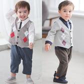 長袖連身衣 假三件 學院風 菱格背心 男寶寶 小紳士 花童 喜宴 正式場合 爬服 哈衣 37022