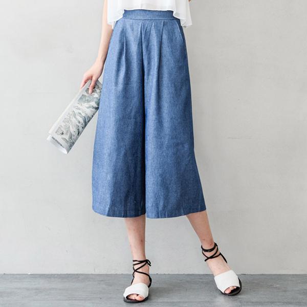 MIUSTAR 韓國車線剪裁顯瘦鬆緊牛仔寬褲(共2色)【NH0914GW】預購