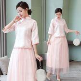 唐裝春款女2019新款中國風民族風女裝文藝復古盤扣提花立領上衣
