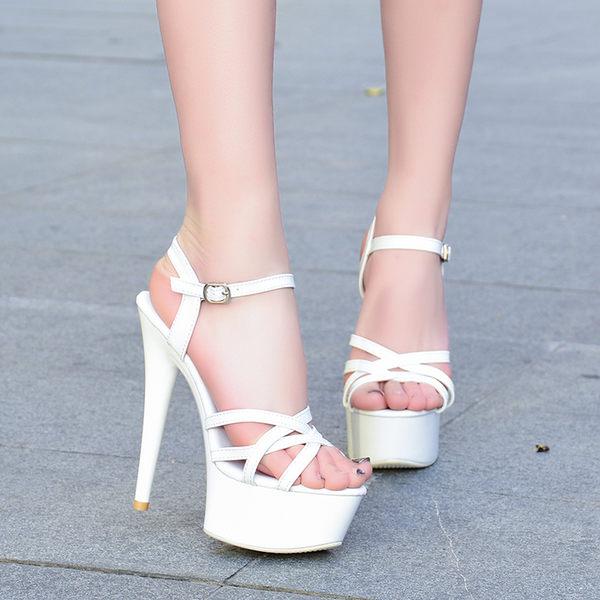 高跟鞋 走秀模特高跟鞋細跟性感黑色防水台15cm恨天高超高跟涼鞋女   琉璃美衣