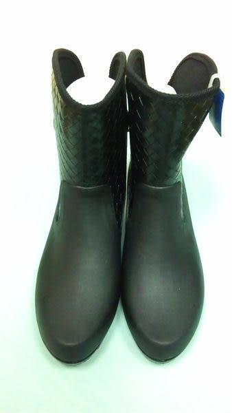 楔型雨靴--優雅帥氣女鞋--黑色日本製(820)