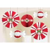 聖誕節 裝飾 佈置 扇形蜂巢球吊飾5入-聖誕糖