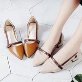 涼鞋涼鞋女夏新款韓版百搭中低跟魚嘴矮細跟時尚高跟涼鞋防水3c新 印象部落