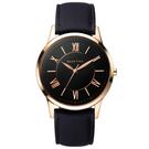 RELAX TIME RT58 經典學院風格手錶-黑x玫塊金框/42mm RT-58-17M