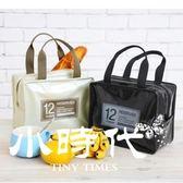 韓版手提包飯盒袋漆皮PU野餐包保冷冰包午餐便當包女包防水保溫袋