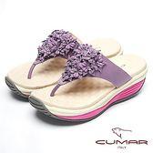 ★2018春夏新品★【CUMAR】美姿大底-美姿圓弧大底真皮夾腳鞋(紫色)