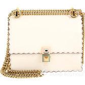 FENDI KAN I 小款 鉚釘鎖釦荷葉邊兩用鍊帶方包(米白色) 1820342-03