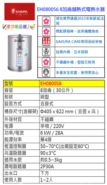 EH0800S6櫻花熱水器8加侖直掛式/安裝材料費另收/安裝限基隆台北新北(林口三峽鶯歌收跨區費)