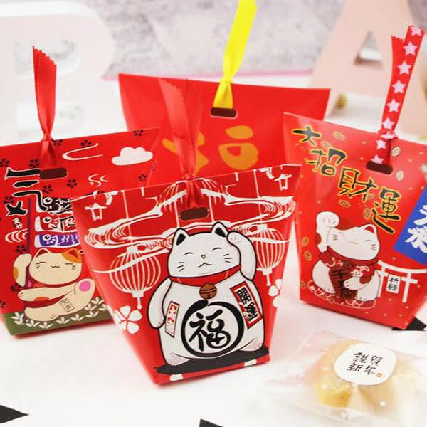 【BlueCat】招財貓鯉魚旗紅色梯形糖果盒/餅乾盒