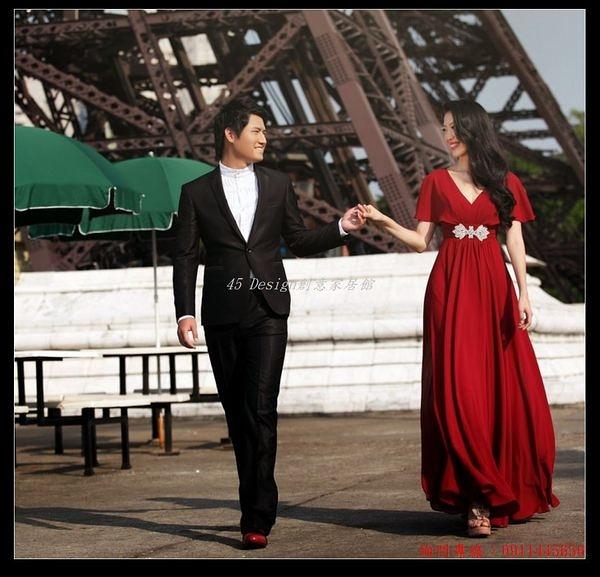 (45 Design)       7天到貨 紅色新娘敬酒禮服 孕婦禮服 大碼新娘禮服外景拍攝禮服