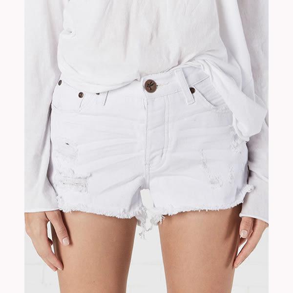 OneTeaspoon 牛仔短褲 破褲 HIGH WAIST BONITA -白(女)