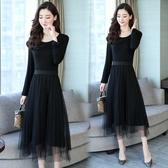 夏天大尺碼長裙子女士初春韓版新款黑色長袖網紗氣質大尺碼連身裙