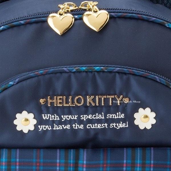 日本限定 三麗鷗 凱蒂貓 HELLO KITTY  兒童 格紋 後背包 S