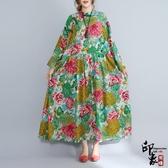 大尺碼洋裝寬鬆復古中國風超大尺碼中長款棉麻連身長裙 降價兩天