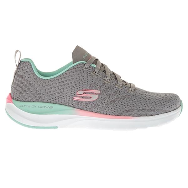 SKECHERS 休閒鞋ULTAR GROOVE綁帶網布慢跑鞋女149022GYMT 灰粉綠