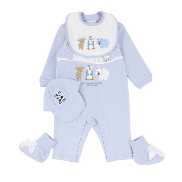 【愛的世界】純棉長袖衣連褲禮盒/6個月~1歲-台灣製- ---禮盒推薦