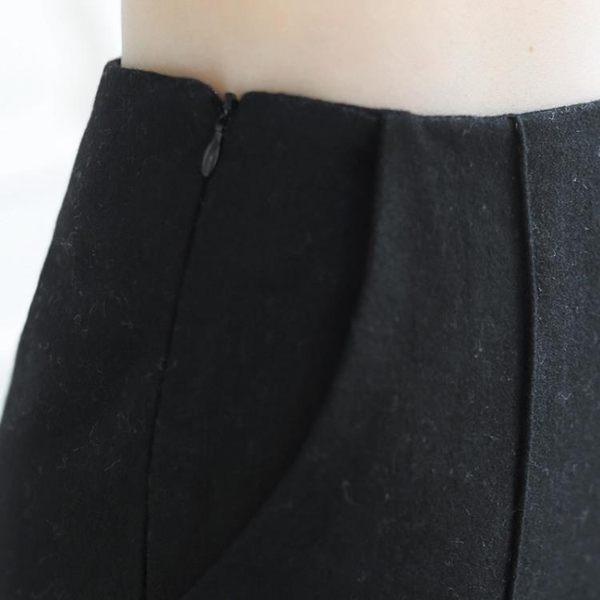 秋冬大碼毛呢闊腿褲女簡約九分褲高西裝褲寬鬆直筒女褲長褲【時尚家居館】