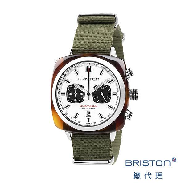 BRISTON SPORT 熊貓錶 白錶盤軍綠色錶帶/ 3760004812647 BRISTON官方直營