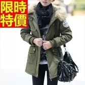 軍裝外套-百搭防風連帽毛領修身版中長款女大衣64c2【巴黎精品】