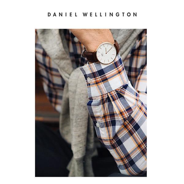 DW 手錶 官方旗艦店 40mm紅棕真皮錶+20mm藍白帆布錶帶 - Daniel Wellington
