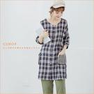 棉麻衫 暖陽口袋格紋雙層棉紗長版衫 單色-小C館日系