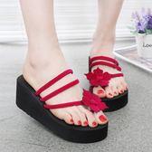 拖鞋女夏套趾時尚簡約室外穿厚底防水臺坡跟