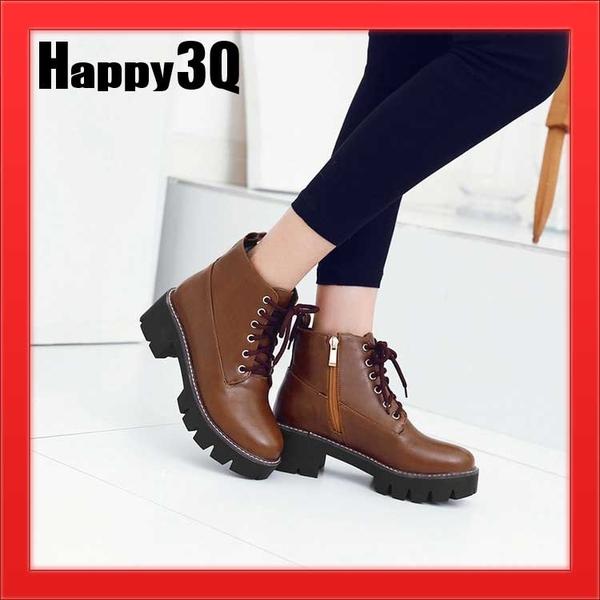 綁帶側拉鍊粗跟低跟馬丁鞋短靴軍靴-黑/紅/棕34-43【AAA1002】預購