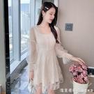 2021年秋裝新款氣質收腰顯瘦法式亮片網紗拼接長袖洋裝 短裙女潮 美眉新品