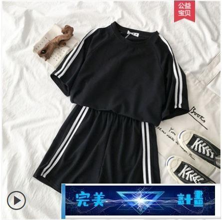 短袖套裝 新款夏韓版寬鬆休閒運動服套裝女學生短袖短褲闊腿跑步兩件套 完美計畫 免運