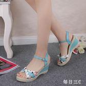 魚嘴高跟鞋 印花涼鞋女春季新款韓版坡跟學生松糕鞋露趾休閒 FR6152【每日三C】