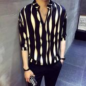 夏季不規則條紋短袖襯衫男寬鬆韓版休閒五分袖♥怦然心動♥