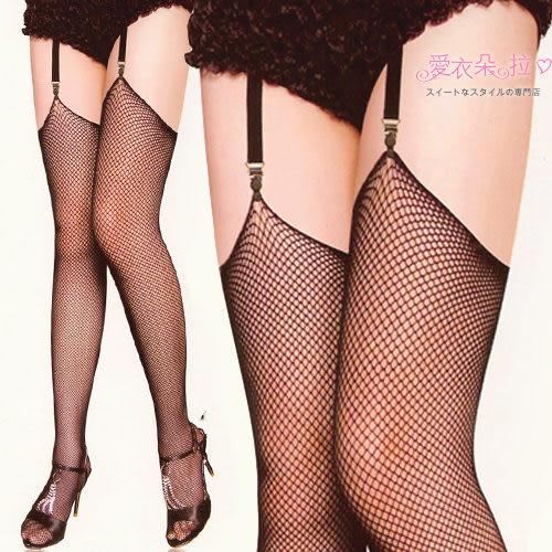 黑色網襪 歐美時尚款 無蕾絲頭小網膝上大腿襪- 愛衣朵拉