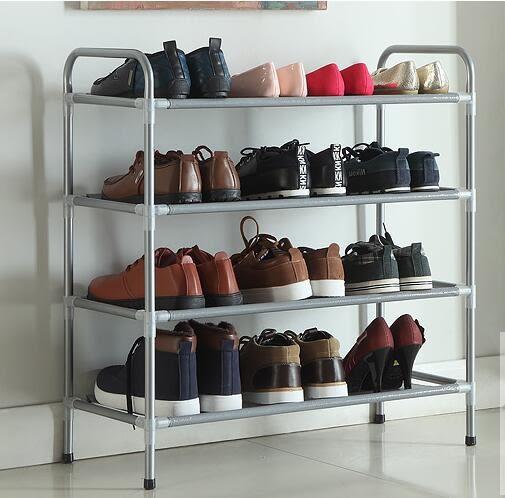 心家宜 時尚田園風簡易鞋架金屬四層置物架組合鞋架玄關收納架【銀灰色、四層】