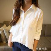 白色襯衫女長袖春裝新款棉麻寬鬆韓版襯衣短袖夏裝ins超火的      芊惠衣屋