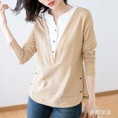 大尺碼T恤女 假兩件V領長袖春裝新款韓版寬鬆胖mm打底衫女 FR4646『夢幻家居』