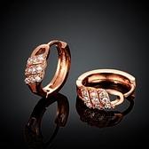 耳環 玫瑰金純銀 鑲鑽-復古經典華麗迷人生日情人節禮物女飾品2色73bu28【時尚巴黎】