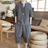 中國風夏季亞麻短袖套裝男士唐裝休閒刺繡漢服棉麻t恤兩件套男裝 居享優品