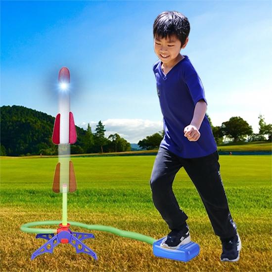 飛天火箭 腳踏火箭炮 火箭筒 噴射 火箭發射 露營 泡棉 玩具 氣壓火箭 閃光沖天火箭【L158】慢思行