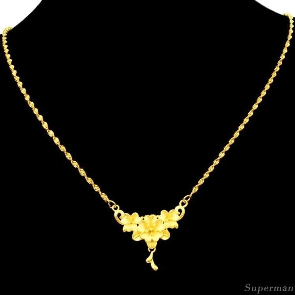 鍍金項鍊 - 禮物飾品鍍24K黃金女士項鍊 泰國沙金仿真金婚慶首飾新款XL108【快速出貨八折下殺】