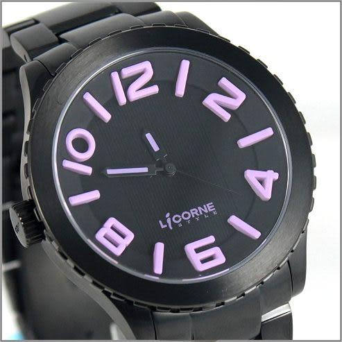 【萬年鐘錶】 LICORNE力抗錶全黑粉紅字躍系列 LI015MBBA-V