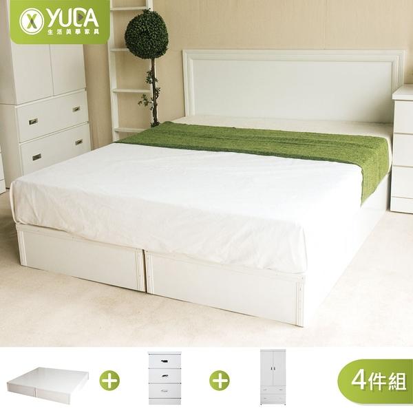 純白色 房間組四件組 雙人加大6尺(床頭片+加厚六分床底+床頭櫃+衣櫃) 新竹以北免運【YUDA】