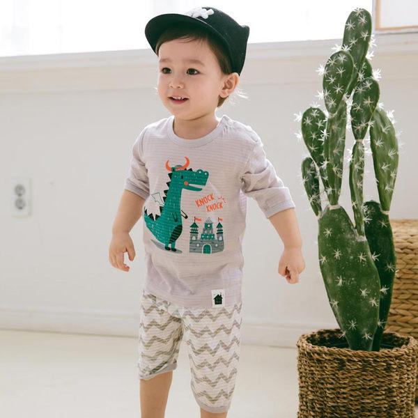 春夏套裝 正韓 Korea Imports 5分袖上衣+5分褲子 套裝2件組 - 灰條紋綠色恐龍城堡 Dragon Easywear