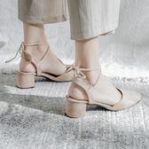 包頭涼鞋 2019春季新款粗跟包頭羅馬中跟綁帶高跟單鞋晚晚復古絨面涼鞋女 夢幻衣都
