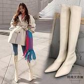 長靴女尖頭高跟秋冬瘦瘦靴不過膝騎士靴【時尚大衣櫥】